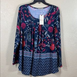 Bebonnie Top Blouse L NWT Blue Pink Red Floral